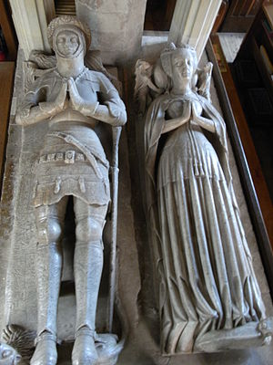 Church of St Dubricius, Porlock - Alabaster effigies (c.1471) in Church of St Dubricius, Porlock, of John Harington, 4th Baron Harington (died 1418) and his wife Elizabeth Courtenay (died 1471), daughter of Edward de Courtenay, 3rd Earl of Devon (died 1419)