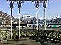 "Photo from inside Musikkpaviljongen (""The Music Pavillion"") in Byparken in central Bergen, Norway 2018-03-15. View towards buses in Christies gate, Lille Lungegårdsvann, KODE art museum, Ulriken etc A.jpg"