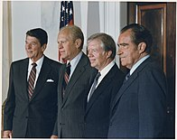 Photograph of the Four Presidents posing for a portrait prior to leaving for Egypt and Sadat's Funeral - NARA - 198524.jpg