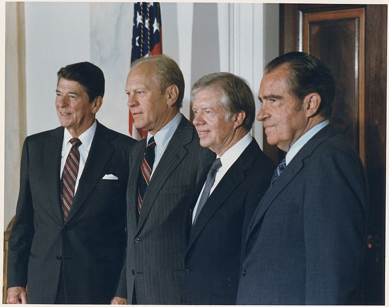 Photograph of the Four Presidents posing for a portrait prior to leaving for Egypt and Sadat%27s Funeral - NARA - 198524.jpg