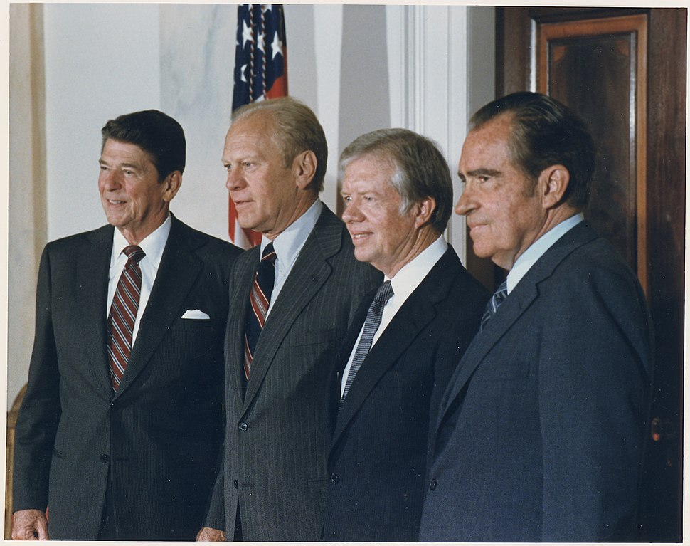 Photograph of the Four Presidents posing for a portrait prior to leaving for Egypt and Sadat%27s Funeral - NARA - 198524