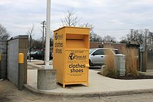 Planet Aid collection box in Dexter, Michigan