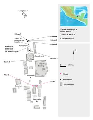 Plano de la zona arqueológica de La Venta.