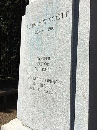 Harvey W. Scott (sculpture) - Base of the statue, with inscription