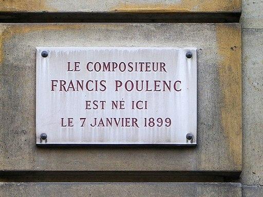 Plaque Francis Poulenc - Place des Saussaies à Paris