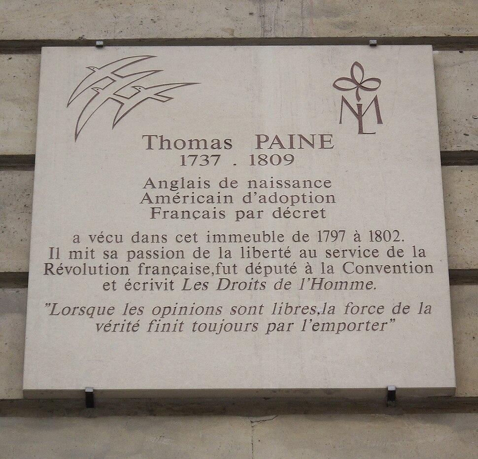 Plaque Thomas Paine, 10 rue de l'Odéon, Paris 6
