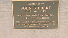 Plaque on memorial to John Gilbert, Gilbert's Lookout, Taroom, 2014.JPG