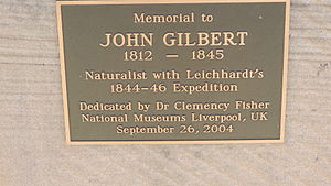 John Gilbert (naturalist) - Plaque on memorial to John Gilbert, Gilbert's Lookout, Taroom, 2014