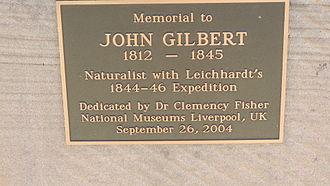 John Gilbert (naturalist) - Plaque on memorial to John Gilbert, Gilbert's Lookout, Taroom, 2014