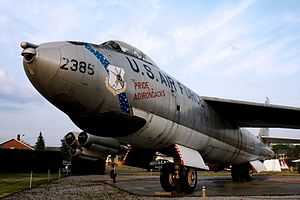 "Plattsburgh (city), New York - A B-47 bomber with the inscription ""Pride of the Adirondacks"", one of two aircraft on display in the Clyde A. Lewis Air Park."