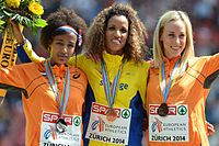 Podium 5000m women Zurich 2014.jpg