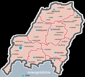 Wilno Voivodeship (1926–1939) - Map of Wilno Voivodeship