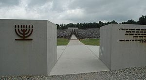 Poland Belzec - extermination camp mausoleum.jpg