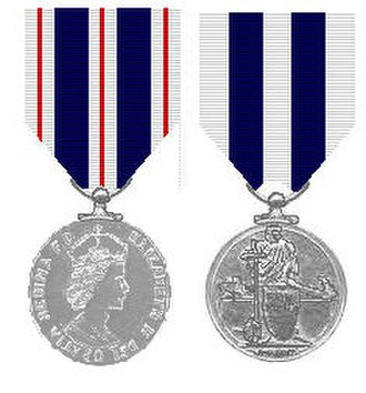 Queen's Police Medal - Queen's Police Medals for Gallantry (left) and Distinguished Service (right)