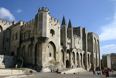 The pope palace, main facade, city of Avignon, France.