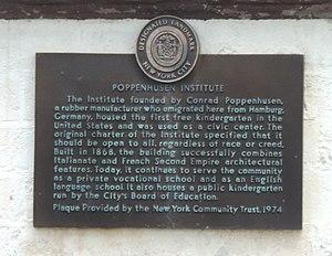 Poppenhusen Institute - Landmark plaque