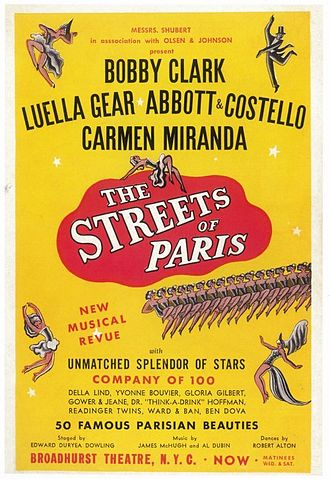 Broadhurst Theatre - The Streets of Paris, premiered on June 19, 1939, at the Broadhurst Theatre, featuring Carmen Miranda to the American public.