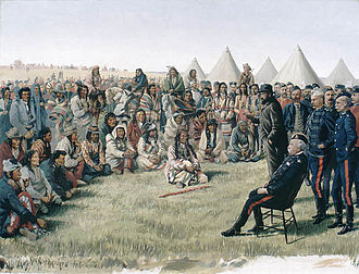 Looting of Battleford - Image: Poundmaker surrenders to Middleton