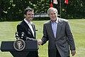President George W. Bush and Prime Minister Anders Fogh Rasmussen of Denmark meet at Camp David.jpg