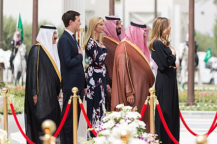 Crown Prince Muhammad bin Nayef, Deputy Crown Prince Mohammad bin Salman, Jared Kushner, Ivanka Trump, King Salman bin Abdulaziz and Melania Trump, Riyadh, 20 May 2017 President Trump's Trip Abroad (34784285005).jpg