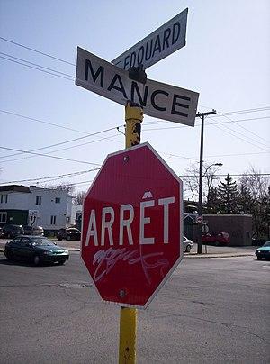 Laflèche, Quebec - A typical intersection in Laflèche