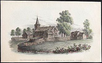 Red River Colony - Protestant Church and Mission School, Red River Colony (Manitoba), c. 1820-1840.