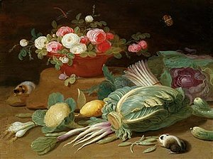 Pseudo-Jan van Kessel the Younger - Still life of a basket of roses, vegetables and guinea pigs