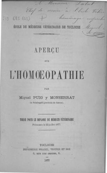 File:Puig y Monserrat - Essai sur l'homœopathie.djvu