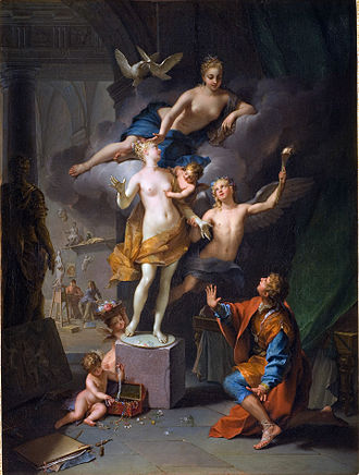 Metamorphoses - A depiction of the story of Pygmalion, Pygmalion adoring his statue by Jean Raoux (1717)