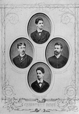 Rosé Quartet - Founding members of Rosé Quartet in 1882: Arnold Rosé (top), Julius Egghard Jr. (left), Anton Loh (right), Eduard Rosé (bottom)