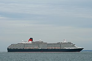 MS Queen Victoria - Queen Victoria passing Calshot Spit light buoy outward bound from Southampton.