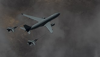 Operation Shader - A Voyager tanker refuels two Tornado GR4s over Iraq on 4 March 2015.