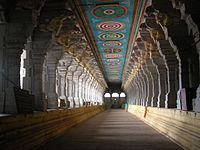 granite pillars supporting the corridor in the precinct of Ramanathaswamy Temple.