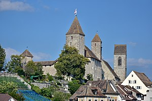 Rapperswil Castle - Rapperswil Castle as seen from the harbour area, St. John's Church in the background, the vineyards in the foreground