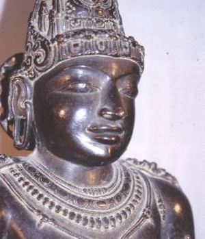 Later Cholas - Rajaraja Chola's statue at Brihadisvara Temple, Thanjavur.