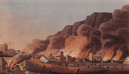 A painting depicting the British Expeditionary Force in 1809 sacking the coastal town and port of Ras Al Khaimah. Ras Al Khaimah under attack, 1809 01.jpg