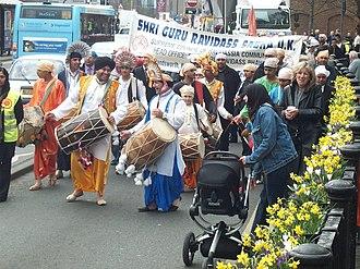 Ravidassia religion - Procession of Ravidassias in Bedford