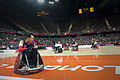 Retired U.S. Sailor William Groulx, the U.S. wheelchair rugby team captain, rolls into position after scoring a point against the Great Britain team during a match at the Paralympic Games in London Sept 120905-F-FD742-030.jpg