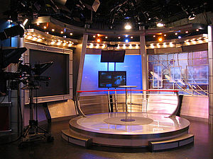 WRNN-TV - The RNN talk set, used for nightly programming, located in Rye Brook, July 2006.
