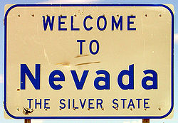 Señal de bienvenida a Nevada.