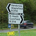 Road sign at Slough Green Junction showing destinations along Cuckfield Road. - geograph.org.uk - 69968.jpg