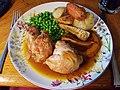 Roast chicken legs with roast veg, peas and gravy (34753963294).jpg