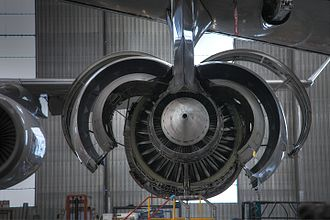 Rolls-Royce Trent - Trent 500 on wing, cowlings open
