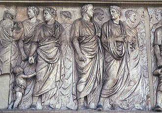Ara Pacis - Ara Pacis: detail of the processional frieze showing members of the Senate (north face).