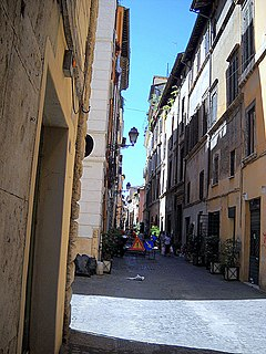 Via dei Coronari street in the historic center of Rome, Italy