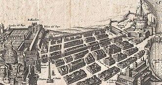 Baroque garden - Image: Rome Walls between St Peter and Castel Sant'Angelo (Merian 1652)