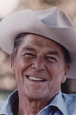 Republican Party presidential primaries, 1976 - Image: Ronald Reagan wearing cowboy hat at Rancho Del Cielo 1976