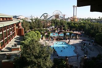 Disney's Grand Californian Hotel & Spa - A view of the three pools and Disney California Adventure in 2006