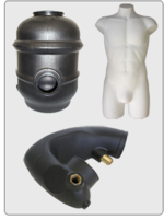 HDPE Tank, Polypropylene mannequin and a XLPE Tube