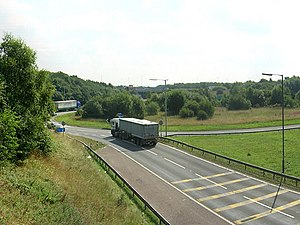 M58 motorway - Approaching the M6 interchange from the M58.